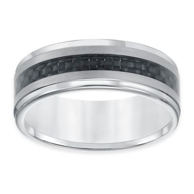 Triton® Tungsten Carbide and Carbon Fiber Size 8 Men's Comfort-Fit Wedding Band