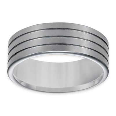 Triton® Tungsten Carbide Brushed Rows Size 8 Men's Comfort Fit Wedding Band