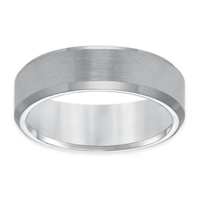 Triton® Tungsten Carbide Satin Finish Beveled Edge Size 12.5 Men's Comfort-Fit Wedding Band