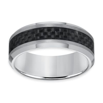 Triton® Tungsten Carbide and Carbon Fiber Beveled Edge Size 8 Men's Comfort-Fit Wedding Band