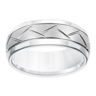 Triton® White Tungsten Carbide Crisscross Groove Size 8 Men's Comfort-Fit Wedding Band