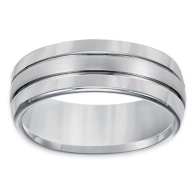 TRITON® Tungsten Carbide Brushed Center Size 8 Men's Comfort-Fit Wedding Band