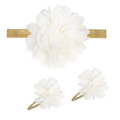 So'Dorable 3-Piece Chiffon Flower Gold Headwrap and Hair Clip Set in Ivory