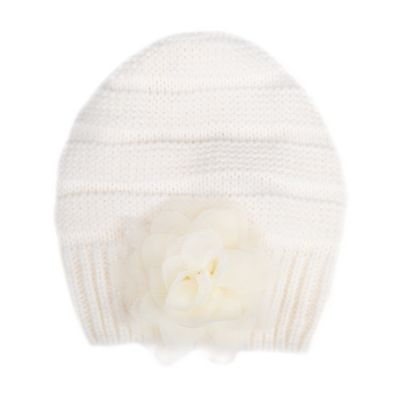 Infant Side Flower Knit Beanie Hat in Ivory