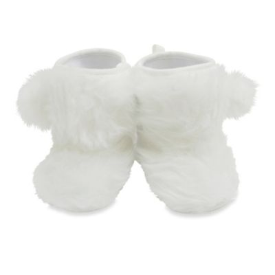 Rising Star™ Size 3-6M Faux Fur Pom-Pom Boot in White