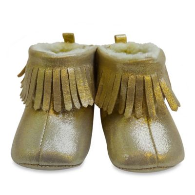 Rising Star™ Size 3-6M Suede Fringe Moccasin Boot in Gold
