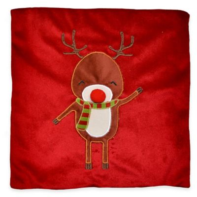 Reindeer Square Throw Pillow in Red