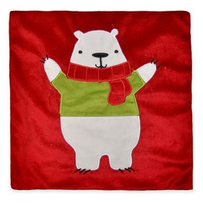 Patrick Polar Bear Mini Throw Pillow in Red