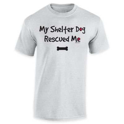 """My Shelter Dog Rescued Me"" Medium T-shirt in Grey"