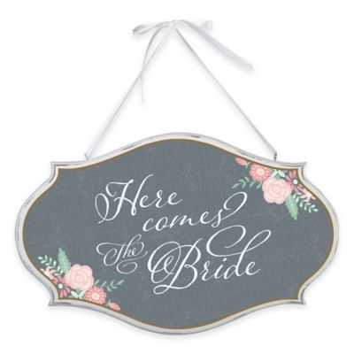 Lillian Rose™ Here Comes the Bride Oval Sign in Black