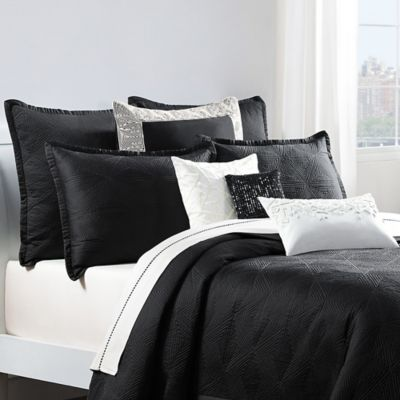 Catherine Malandrino Optic European Coverlet Pillow Sham in Black/Ivory