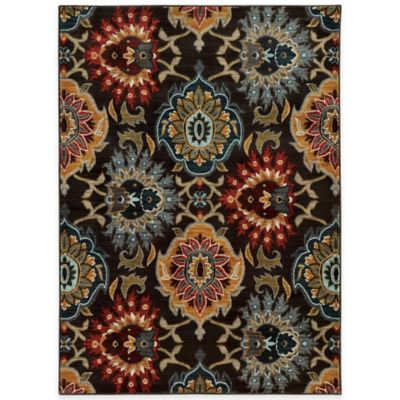 Oriental Weavers Floral Damask 9-Foot 10-Inch x 12-Foot 10-Inch Area Rug in Charcoal