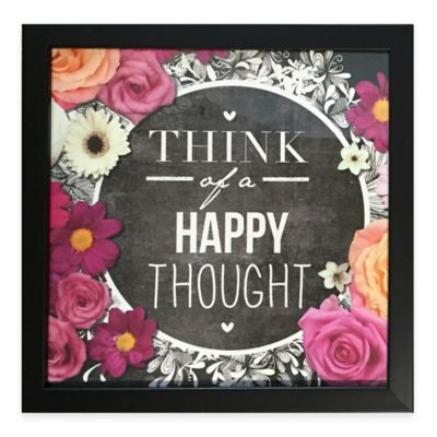 "Graham & Brown Chalkboard Typography ""Happy Thoughts"" Framed Wall Art"