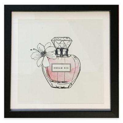 "Perfume Bottle ""Dream Big"" Framed Wall Art in Pink"