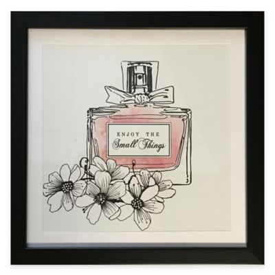 """Perfume Bottle """"Enjoy the Small Things"""" Framed Wall Art in Pink"""