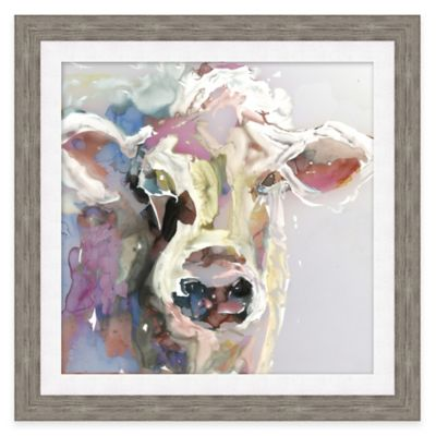 Watercolor Cow Face Framed Wall Art