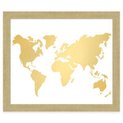 World Map Gold Foil Framed Wall Art