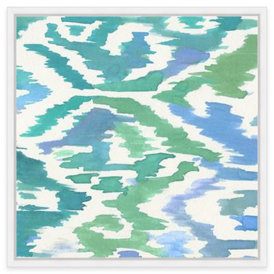 Aqua Ikat 1 Framed Canvas Wall Art