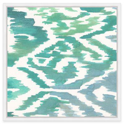 Navajo Breeze Aqua Ikat 2 Framed Canvas Wall Art