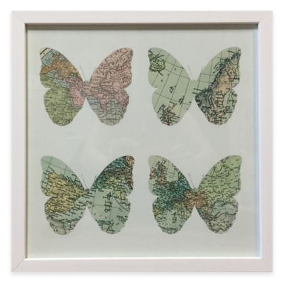 Graham & Brown Traveler Map Butterfly Framed Wall Art