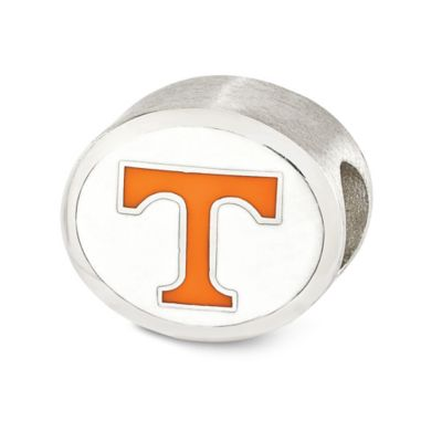 Sterling Silver Collegiate University of Tennessee Vols Two-Sided Enameled Charm Bead in White