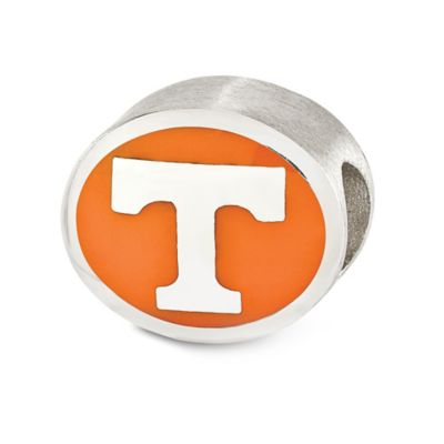 Sterling Silver Collegiate University of Tennessee Vols Two-Sided Enameled Charm Bead in Orange