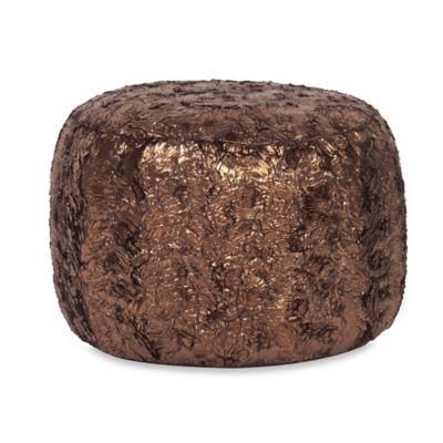 Howard Elliott Tall Pouf in Gold Cougar