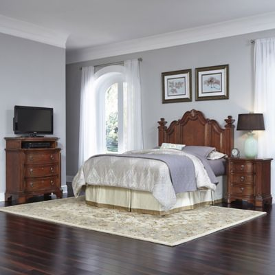 Home Styles Santiago 3-Piece Queen/Full Headboard, Nightstand and Media Chest Set