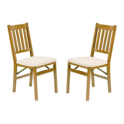Stakmore Arts & Crafts Wood Folding Chairs in Oak (Set of 2)