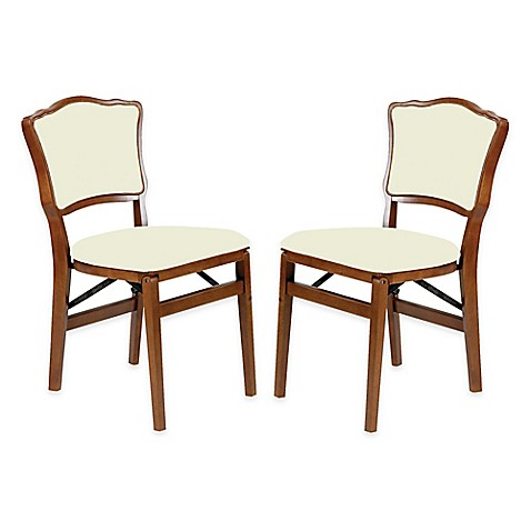 Buy Stakmore French Padded Back Wood Folding Chairs In Fruitwood Set Of 2 F