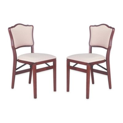 Stakmore French Padded Back Wood Folding Chairs in Fruitwood (Set of 2)