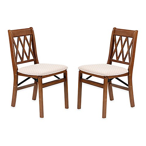 buy stakmore lattice back wood folding chairs in fruitwood