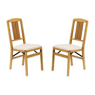Stakmore Simple Mission Wood Folding Chairs in Oak (Set of 2)