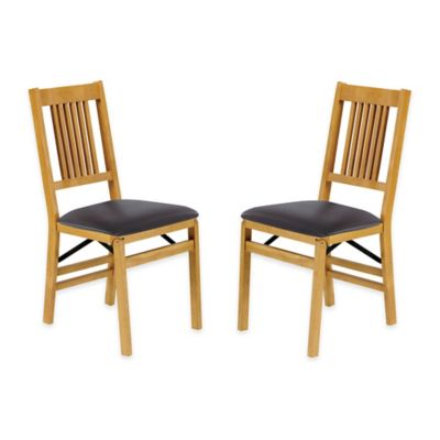 Stakmore True Mission Wood Folding Chairs in Oak (Set of 2)