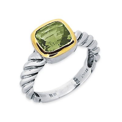 Phillip Gavriel Sterling Silver 18K Gold-Plated Cushion Cut Green Amethyst Size 8 Ladies' Cable Ring