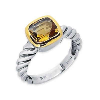 Phillip Gavriel Sterling Silver and 18K Gold-Plated Cushion Cut Citrine Size 6 Ladies Cable Ring