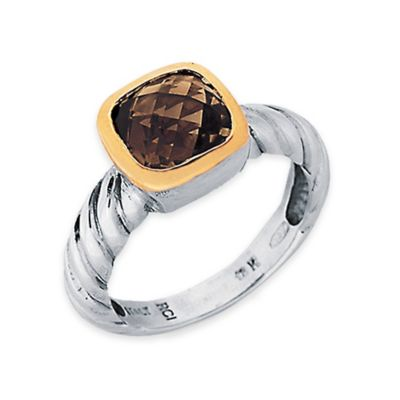 Phillip Gavriel Sterling Silver and 18K Gold-Plated Smokey Quartz Size 6 Ladies' Cable Ring