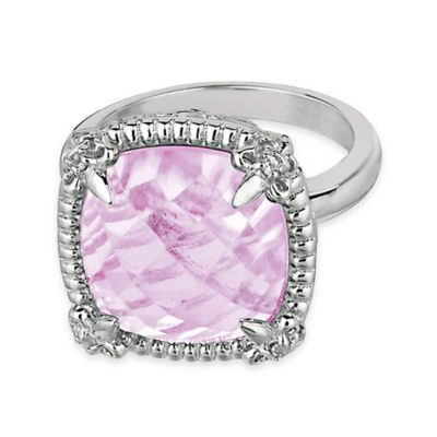 Phillip Gavriel Sterling Silver Pink Amethyst and White Sapphire-Accented Size 7 Ring