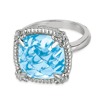 Phillip Gavriel Plated Sterling Silver Blue Topaz and White Sapphire-Accented Size 6 Ring
