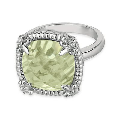 Phillip Gavriel Sterling Silver Green Amethyst and White Sapphire-Accented Size 8 Ring