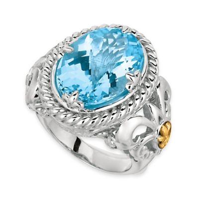 Phillip Gavriel Sterling Silver and 18K Gold Plated Blue Topaz Oval Size 8 Ladies' Ring