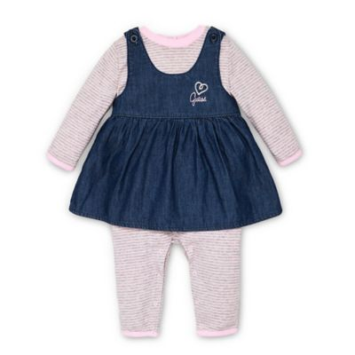 Guess® Size 6-9M 2-Piece Coverall and Jumper Set in Pink/Denim