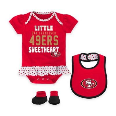 NFL San Francisco 49ers Little Sweet Size 18M 3-Piece Creeper, Bib, and Bootie Set