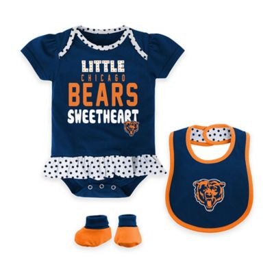 NFL Chicago Bears Size 18M 3-Piece Creeper, Bib, and Bootie Set