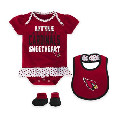 NFL Arizona Cardinals Little Sweet Size 12M 3-Piece Creeper, Bib, and Bootie Set