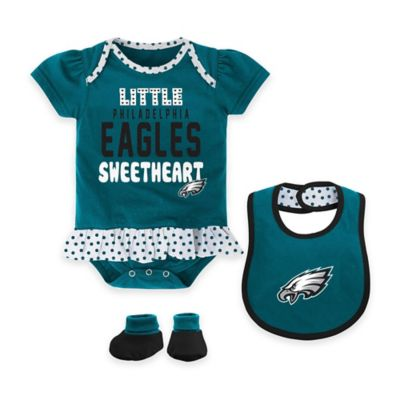 NFL Philadelphia Eagles Size 12M 3-Piece Girl Creeper, Bib, and Bootie Set