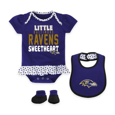 NFL Baltimore Ravens Little Sweet Size 0-3M 3-Piece Creeper, Bib, and Bootie Set