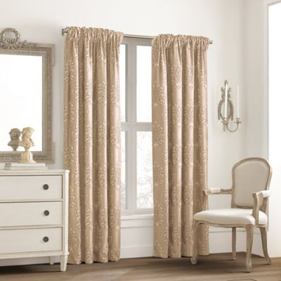 Valeron Glenview Rod Pocket with Pencil Pleat 95-Inch Window Curtain Panel in Cream