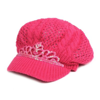 Rising Star™ Newborn Tiara Knit Newsboy Hat in Fuchsia