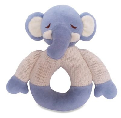Cotton Knit Elephant Teether in Blue